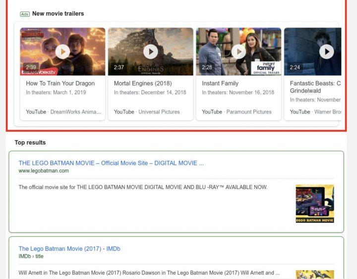 Google testar Youtube-filmtrailers som annonser på google.com